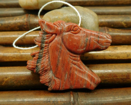 Natural gemstone red stripe jasper horse head pendant bead for necklace (G0