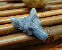 Carving blue aventurine wolf head pendant gemstone animal craft bead (G0108