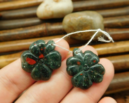 African bloodstone four leaf clover earring pairs gemstone necklace set (G0