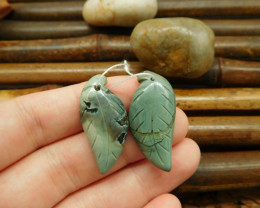 Green jasper carving leaf pairs for jewelry making (G0110)