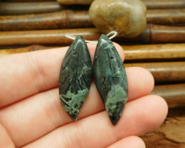 Long dangle green jasper carving leaf pairs for earring making (G0111)