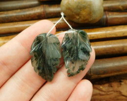 2pcs carving african bloodstone leaf pendant jewelry set (G0112)