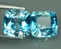 4.35 CTS~JEWEL SET!BLUE ZIRCON WORLD SERIES 6.60MM CUSHION 2PCS EXECLLENT~