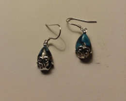 BLUE COPPER TURQUOISE EARRINGS / CASTING 925 STERLING SILVER
