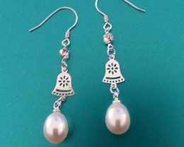PEARL EARRINGS - STERLING SILVER & NATUAL PEARLS DANGLING EARRINGS
