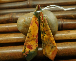 Poppy jasper square earring gemstone cabochon pair (G0120)