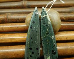 Green jasper triangle earring bead pairs long dangle earring bead (G0121)