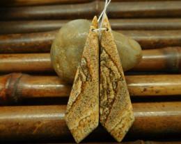 Long picture jasper earring bead for women jewelry DIY (G0122)