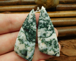 New design triangle moss agate earring bead for jewelry set(G0125)