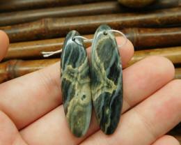 New design oval cut ocean jasper earring bead (G0126)