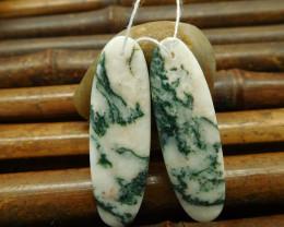 Moss agate earring bead oval cut pendant set (G0129)