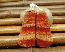 Red jasper earring bead cabochon pair natural gemstone jewelry (G0134)