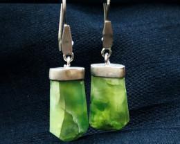 43 Ct Natural Greenish Hydrogrosullar Garnet Earrings Silver 925