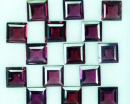 10.75Ct Natural Purple Pink Rhodolite Garnet Square Parcel 5mm