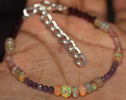18 Crt Natural Amethyst, Garnet , Welo Opal & Sunstone Beads Bracelet 1