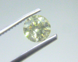0.87ct  Fancy Light Green Yellow Diamond , 100% Natural Untreated
