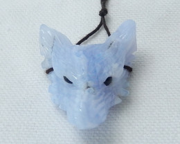 67cts Great Craft Blue Lace Agate Wolf Head Pendant ,Hand Carved Animal Pen