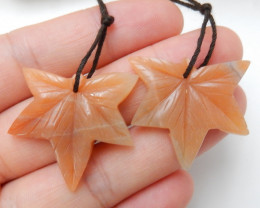 Leaf Shape Earrings,Natural Red Aventurine Handcarved Leaf Earrings For Wom