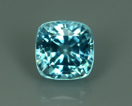 2.00 CTS SPARKLING AMAZING TOP FIRE 6.75 MM CUSHION BLUE ZIRCON NR!!!