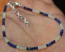8 Crt Natural Ethiopian Welo Opal & Lapis Lazuli Beads Bracelet