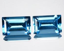 ~PAIR~ 7.49 Cts Natural London Blue Topaz 11x7 mm Octagon Brazil