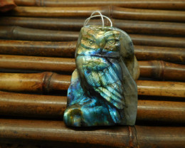216CT Natural blue light labradorite carving owl pendant jewelry handmade a