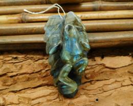Wholesale natural gemstone labradorite carving frog pendant animal figure (