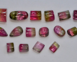 AAA Grade 5.60 ct Natural Bi Color Tourmaline Cabochons ~ LOT