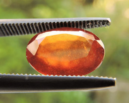 3.28ct ORISSA HESSONITE GARNET OVAL FACETED ORANGE GEMSTONE