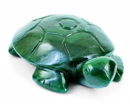 Genuine 865.00 Cts Green Jade Carved Turtle