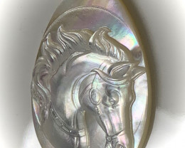 Mother of Pearl Horse Carved Cameo Shell with Rainbows Cabochon 15ct