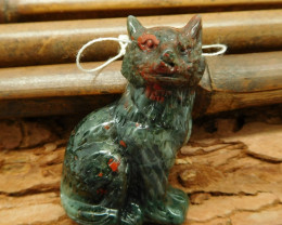 Natural gemstone african bloodstone carving wolf head jewelry pendant (G016