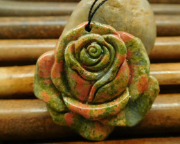 Natural gemstone unakite jasper carving flower pendant for necklace(G0164)