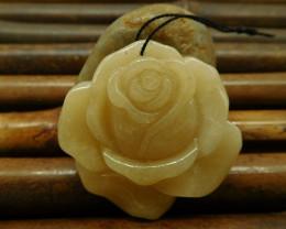 Natural honey jade carving rose flower pendant bead jewelry (G0165)