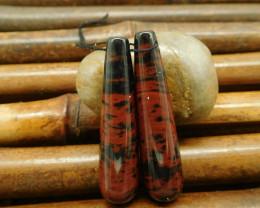 Mahogony obsidian tube earring bead pairs (G0169)