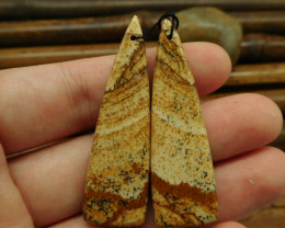 Picture jasper cabochon pairs for earring bead(G0172)