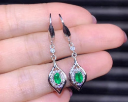 Certified 14 Ct Natural Greenish Transparent Emerald Earrings Solid 925 Sil