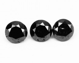 0.39 Cts Natural Coal Black Diamond 3 Pcs Round Cut Africa