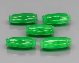 Natural Top Green Jadeite Jade maesai 5Pcs/12.29 cts