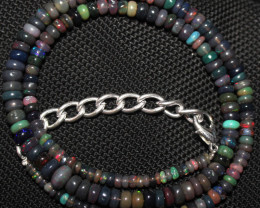 49 Crts Natural Ethiopian Welo Fire Smoked Opal Beads Necklace 61