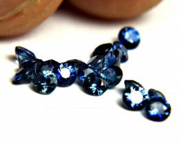 1.48 Tcw.  Midnight Blue Sapphire Accents 2.5mm - 20pcs.