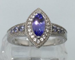 .90 Carat VVS Tanzanite Marquise Ring Zircon Accents Platinum over Silver !