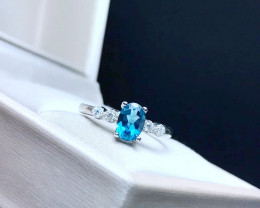 10.80 Ct Natural Blueish Transparent London Topaz With White Zircons Ring