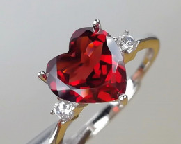 9.50 Ct Natural Red Garnet Transparent 925 Sterling Silver Gemstone Ring