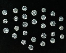 2.01 Cts Natural White Sapphire 2.7 - 2.5 mm Round 26 Pcs Sri Lanka