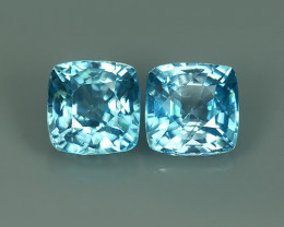 4.75 CTS AWESOME SPARKLE NATURAL RARE BEST BLUE ZIRCON 2 PCS