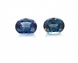 0.90 cttw Fine Navy Blue Pair of Oval Sapphires