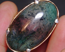 85.70 CT Beautiful Indonesian Chalcedony Abstract Picture Agate Ring Jewelr