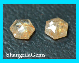 0.24ct 3.2mm pair Hexagon diamonds cayenne brownish red color also called A
