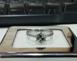 1.01 Cts UNTREATED NATURAL FANCY BLACK GRAY 925 SILVER RING SOLITAIRE DIAMO